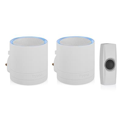 Byron DBY-24115-UK WIRELESS DOOR CHIME WHITE SET 200M